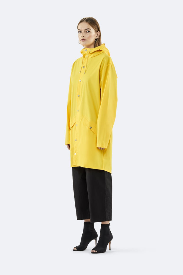 Rains Unisex Long Jacket in Yellow - Blabar