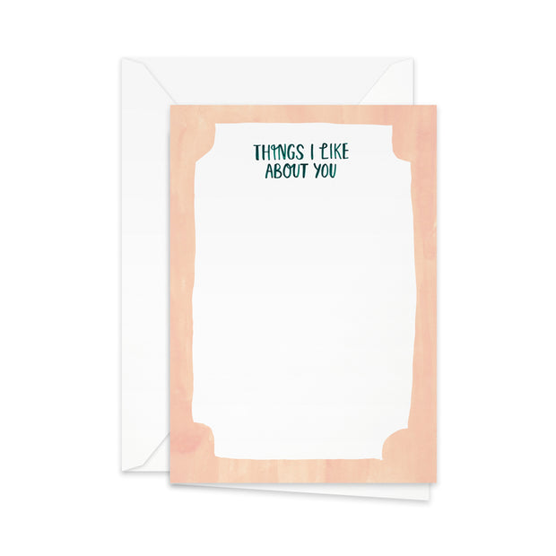 Pretty Paper Greeting Card Things I Like About You