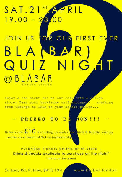 21st April 2018 BLA(BAR) QUIZ NIGHT - Blabar