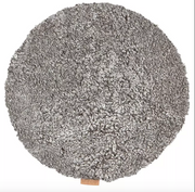 Ida Round Sheepskin Seat Cushion / Chair Pad 38cm in Grey Graphite