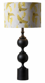Lamp Shade Trana 40cm Yellow Birds & Silver Interior