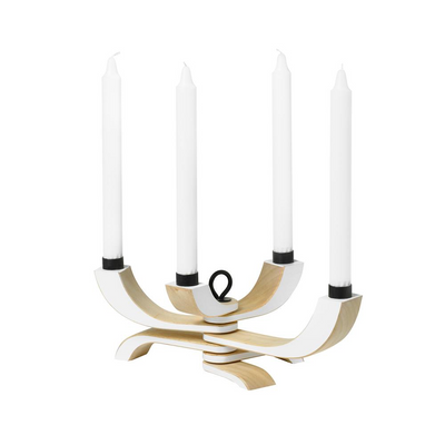 Nordic Light Candle Holder 4 Arms in White - Blabar