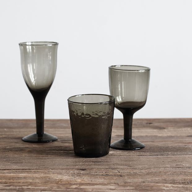 Galette Wine Glass High in Recycled Glass, in Smoke Grey