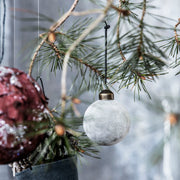 Ornament Bauble Velvet Flock in Grey, 8cm - Blabar