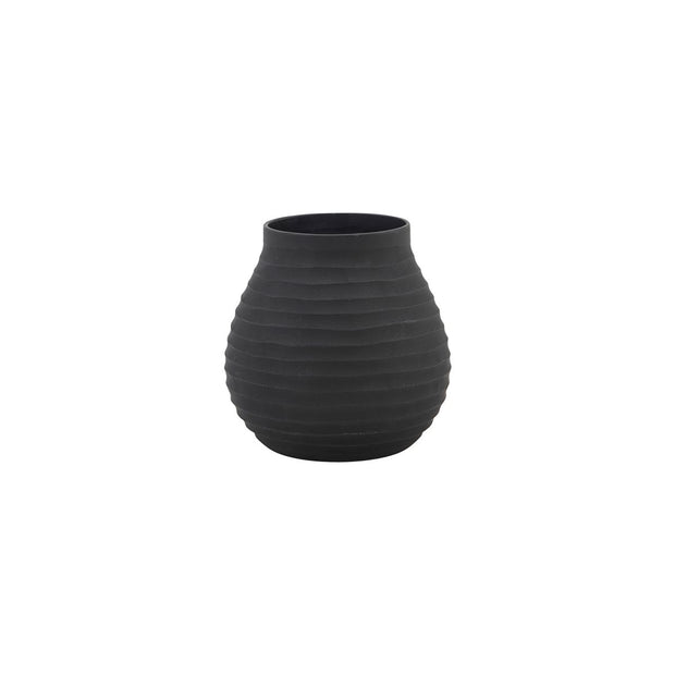 Vase Groove in Glass, Black 10cm