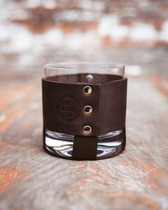 Classic Bèl Vè Bwè Drinking Glass & Leather Sleeve