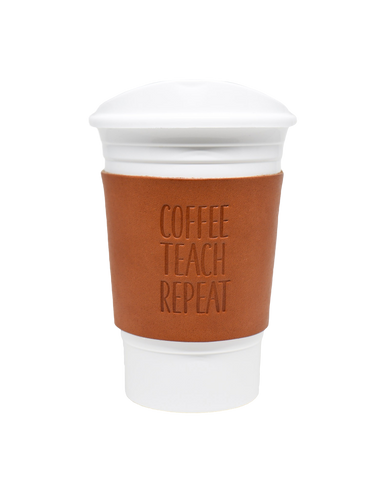 Teacher Appreciation Kan Cup Holder with Plastic Cup and Lid