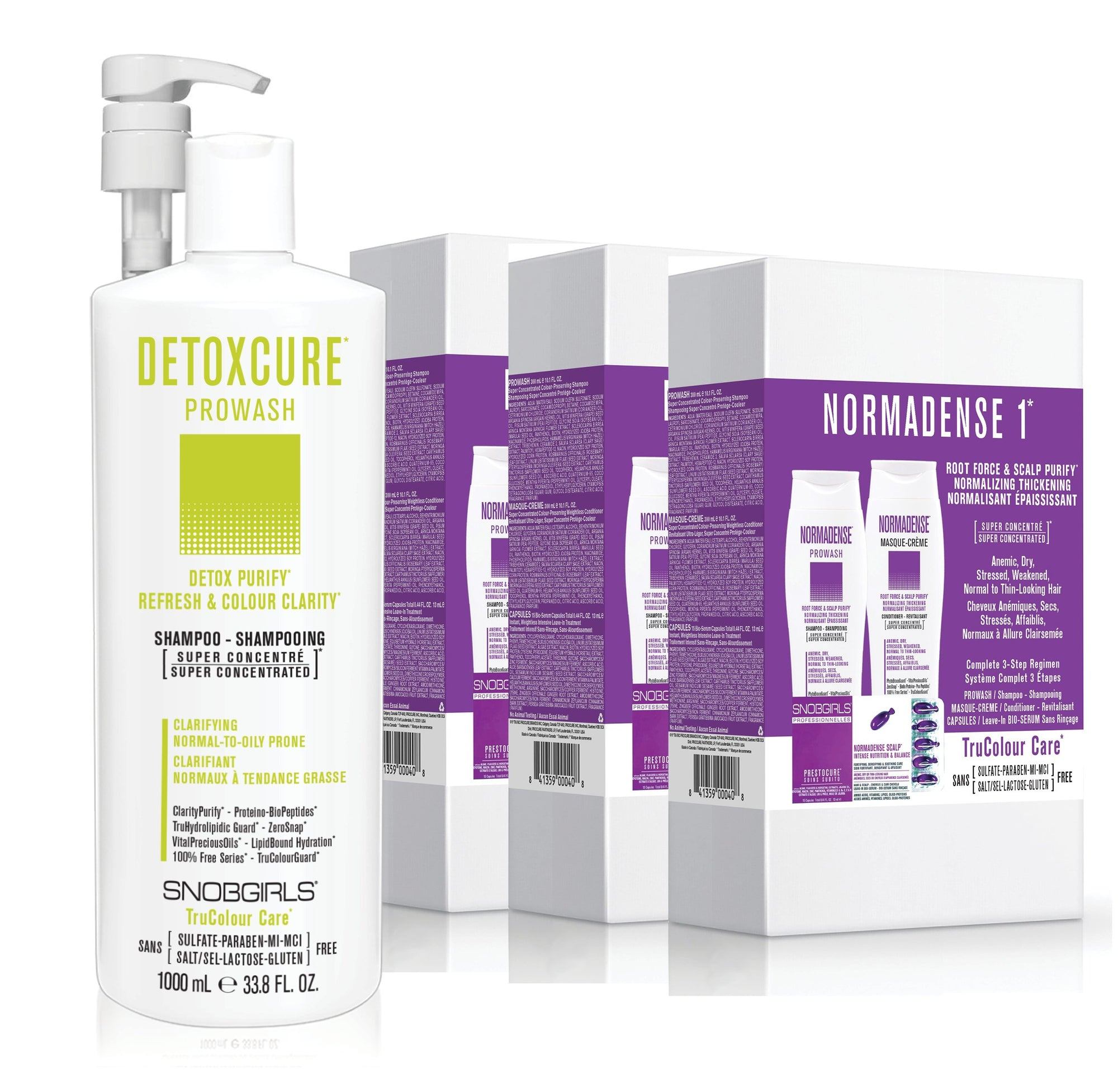 GIFT SETS- 3 X Trio NORMADENSE 1 Normalizing Thickening + Detoxcure Prowash Liter - SNOBGIRLS.com
