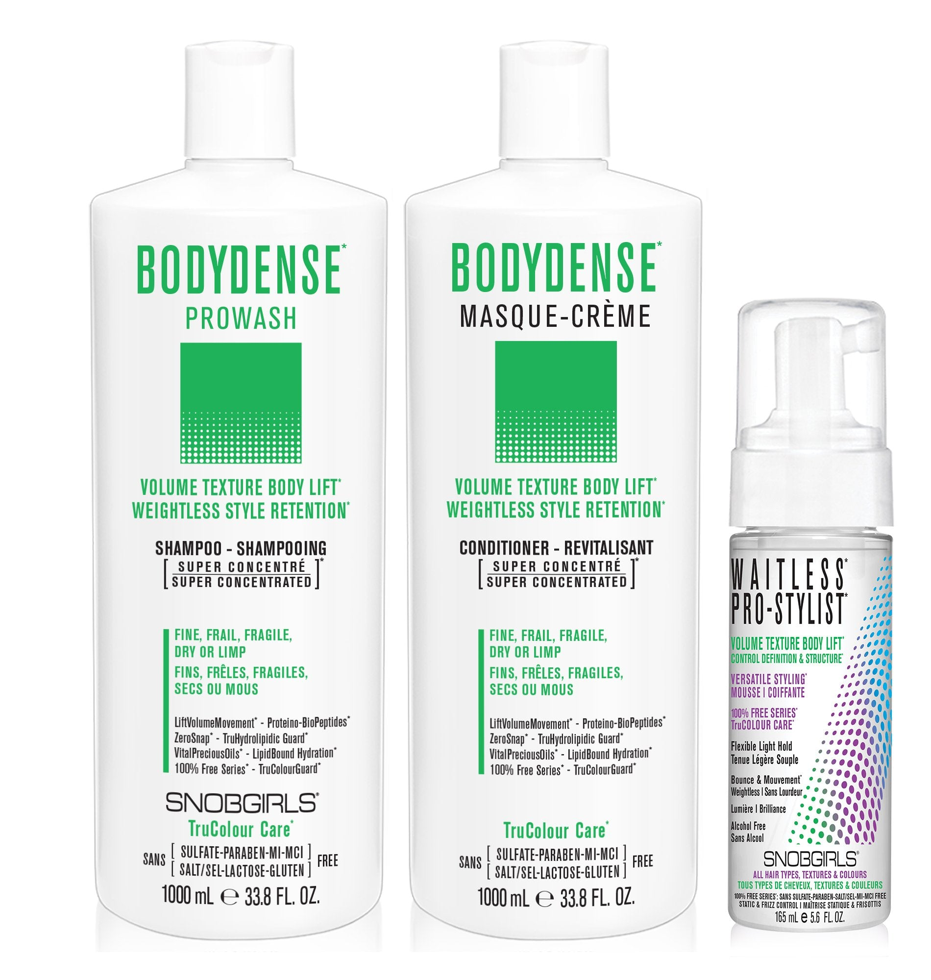 DUO BODYDENSE Bundle- 1 Shampoo with 1 Conditioner 1000 mL and 1 Styling Mousse - SNOBGIRLS Canada
