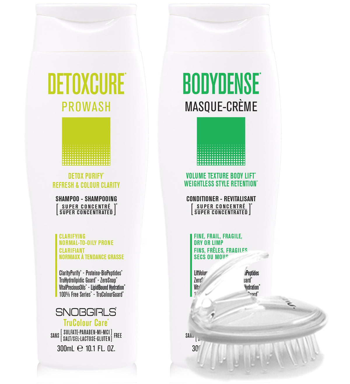 DUO DETOXCURE Prowash + BODYDENSE Masque-Creme 300 mL + Shampoo Brush - SNOBGIRLS Canada