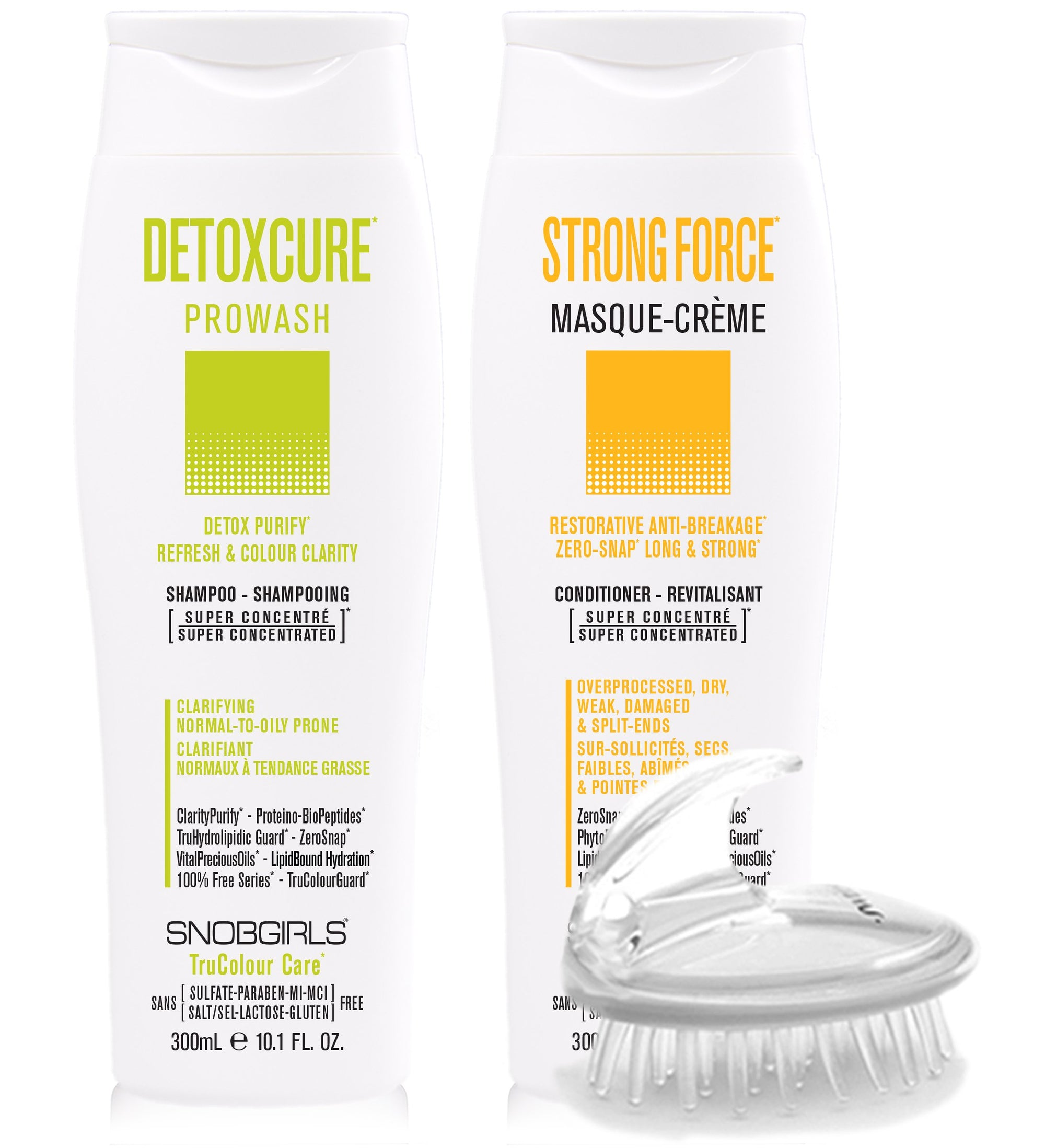DUO - DETOXCURE Prowash + STRONGFORCE Masque-Creme 300 mL + Shampoo Brush - SNOBGIRLS Canada