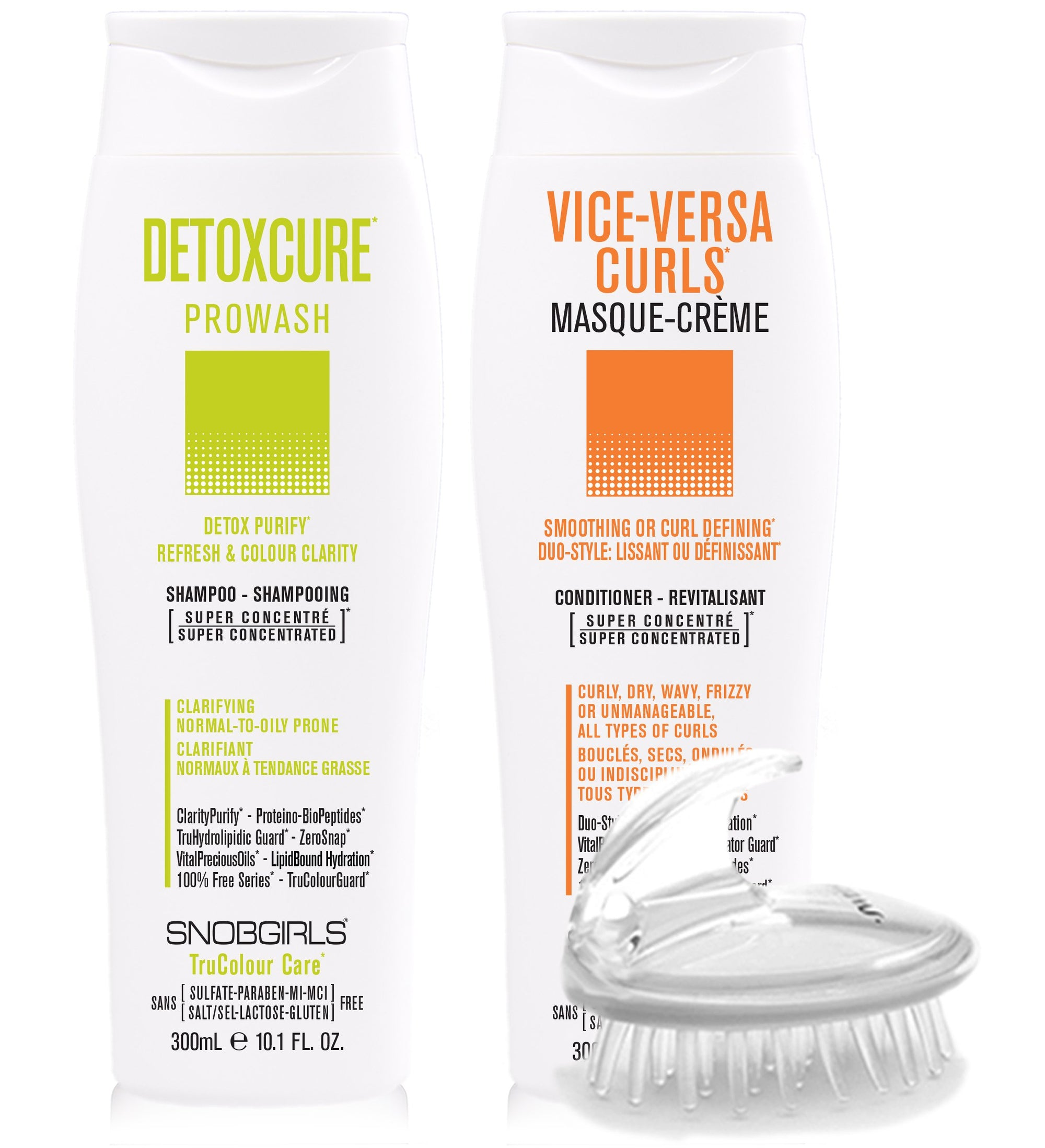 DUO DETOXCURE Prowash + VICE-VERSA CURLS Masque-Creme 300 mL + Shampoo Brush - SNOBGIRLS Canada