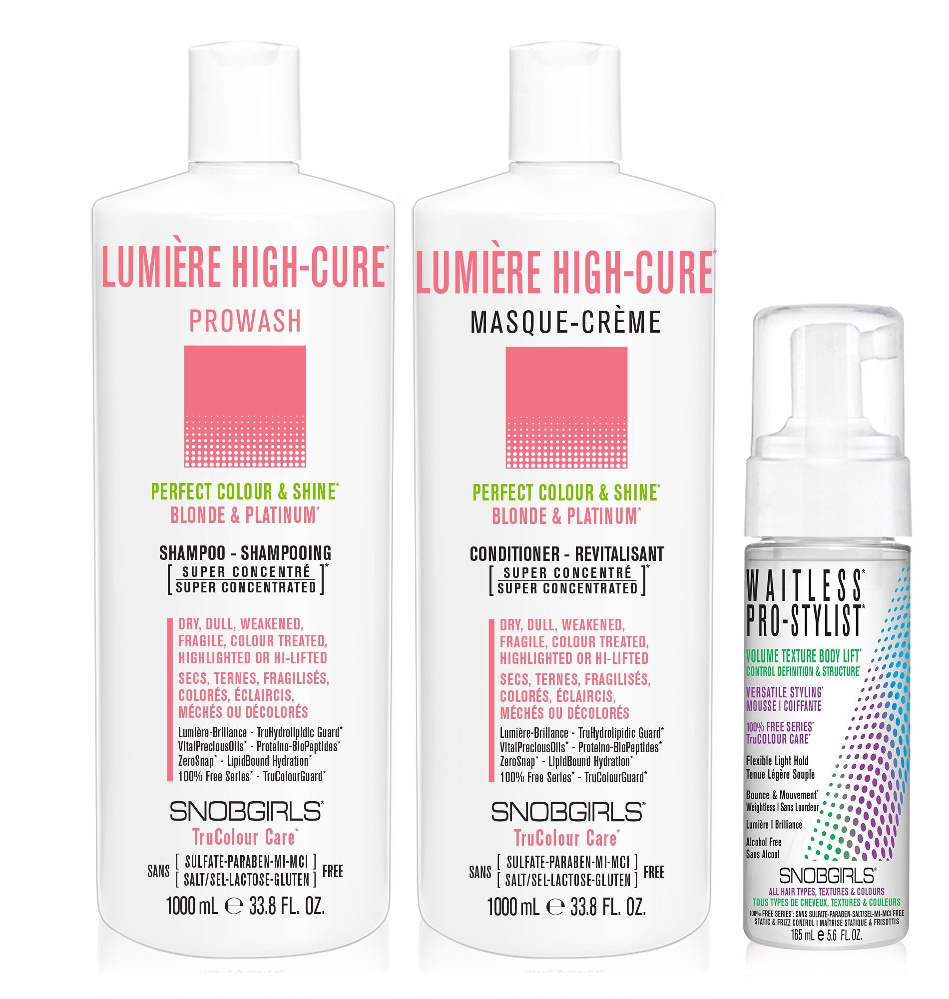 DUO LUMERE HIGH-CURE Bundle- 1 Shampoo with 1 Conditioner 1000 mL and 1 Styling Mousse - SNOBGIRLS Canada