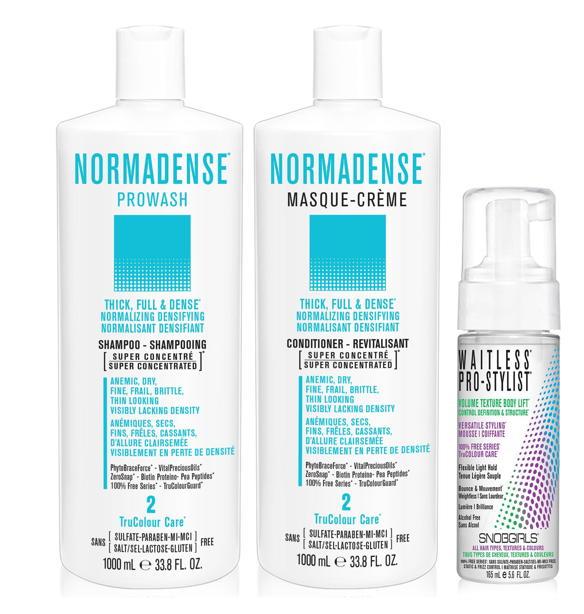 DUO NORMADENSE 2 Bundle- 1 Shampoo with 1 Conditioner 1000 mL and 1 Styling Mousse - SNOBGIRLS Canada