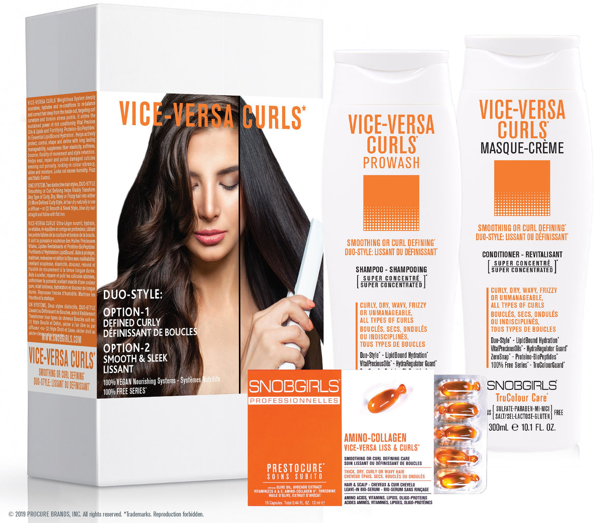 GIFT SETS- 6 X Trio VICE-VERSA CURLS Duo-Style: Smoothing or Curl Defining + Duo Liters - SNOBGIRLS.com
