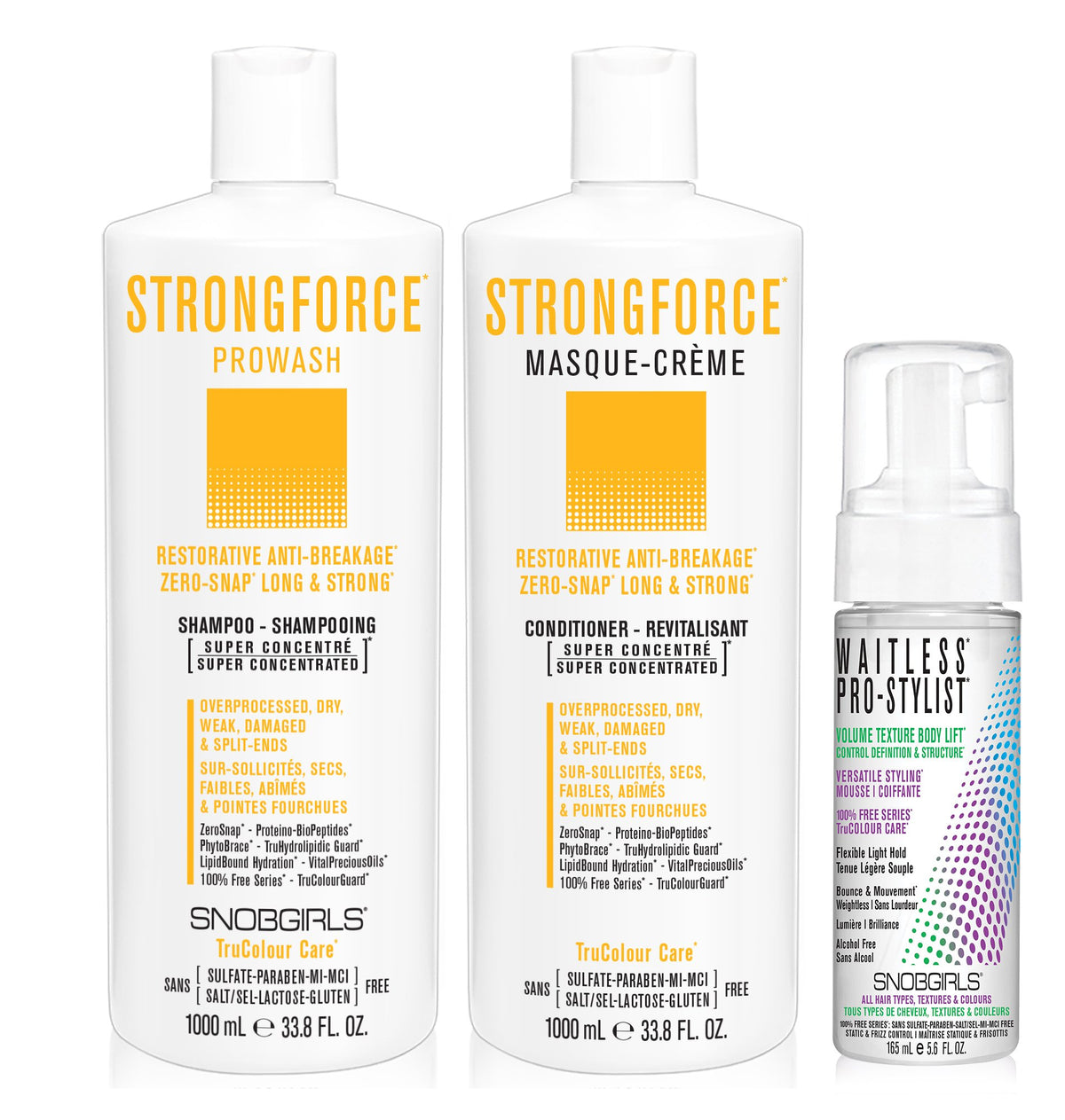 DUO STRONGFORCE Bundle- 1 Shampoo with 1 Conditioner 1000 mL and 1 Styling Mousse - SNOBGIRLS Canada