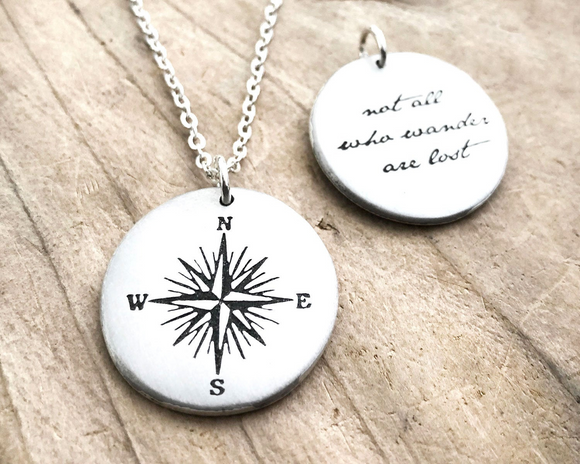 Not All Who Wander are Lost Compass Necklace in Silver