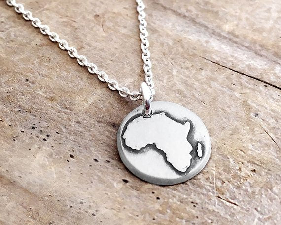 Africa map Silver necklace Lulu Bug jewelry