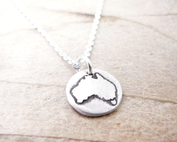 Australia  map jewelry Silver necklace pendant