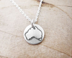 Australia  map jewelry Silver necklace