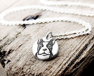 Tiny Boston Terrier Necklace in  Silver