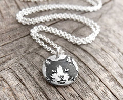 Tiny Black and White Cat Necklace