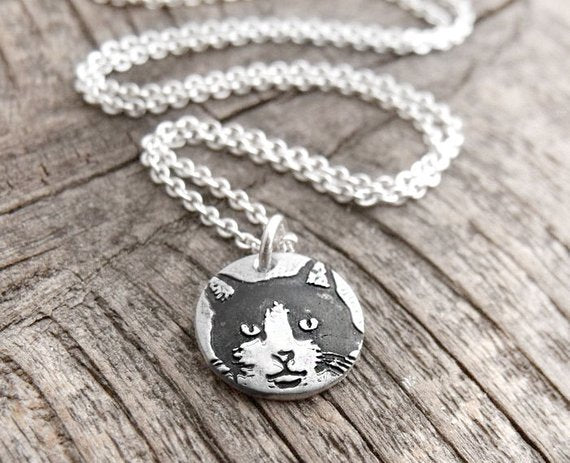Tiny Black and White Cat Necklace in  Silver