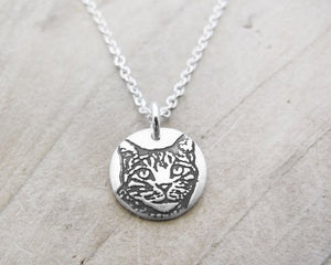 Tiny Silver Tabby Cat Necklace