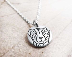 Tiny Cheetah Necklace in Silver