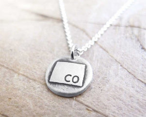Colorado map jewelry Silver necklace Lulu Bug Jewelry