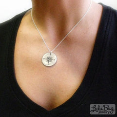 Silver Compass Pendant shown on model