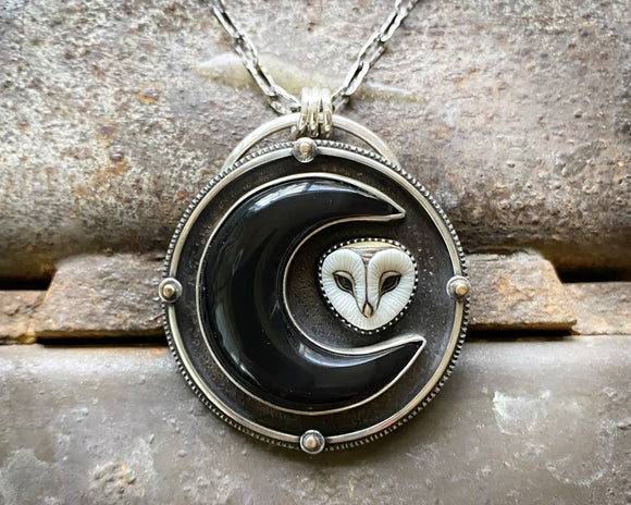 Barn Owl with Crescent Moon Necklace