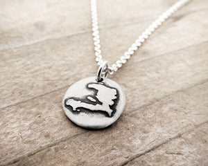 Tiny Map of Haiti Silver Necklace