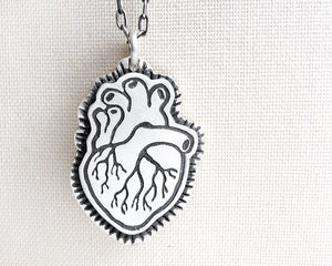 Anatomical Human Heart Necklace for Men or Women