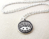 Tiny Hedgehog Charm Necklace in Silver