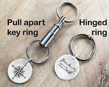 You are My True North Sterling Silver Compass Key Ring