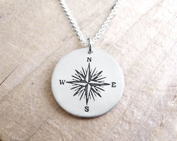 Sterling Silver Compass Rose Necklace
