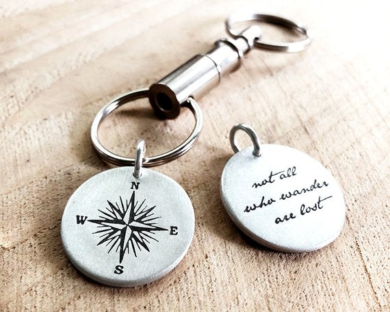 Sterling Silver Not All Who Wander Are Lost Key Ring