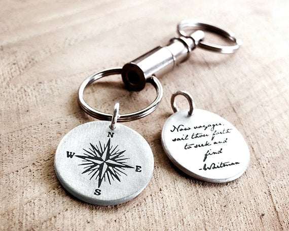 Sterling Silver Voyager Quote Compass Key Chain