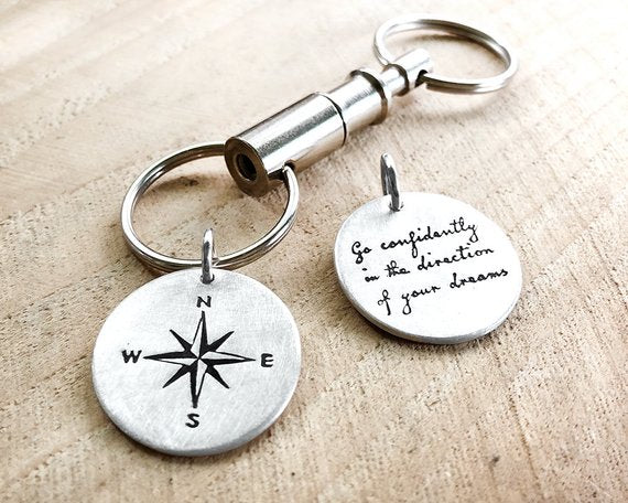 Compass Key Chain with Thoreau Quote