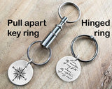 Sterling Silver Invictus Quote with Compass Key Chain