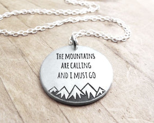 John Muir The mountains are calling Silver quote jewelry