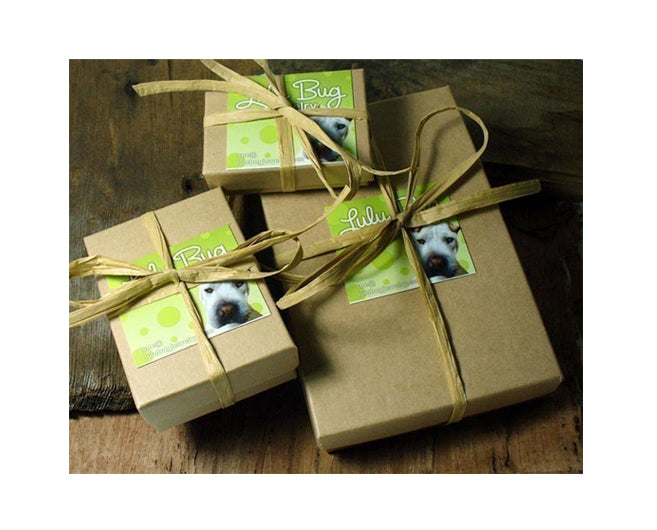 Gift box with raffia ribbon from Lulu Bug Jewelry