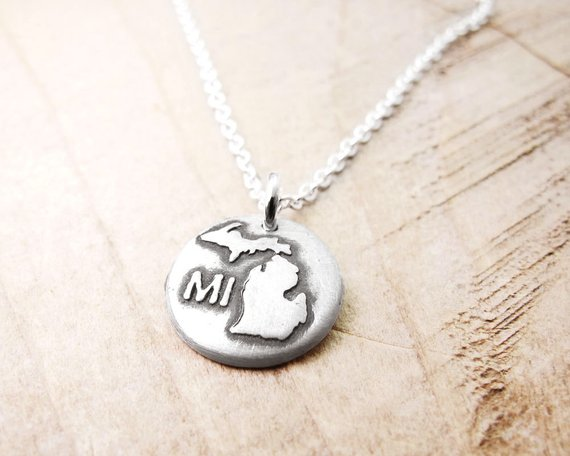 Michigan map jewelry Silver necklace