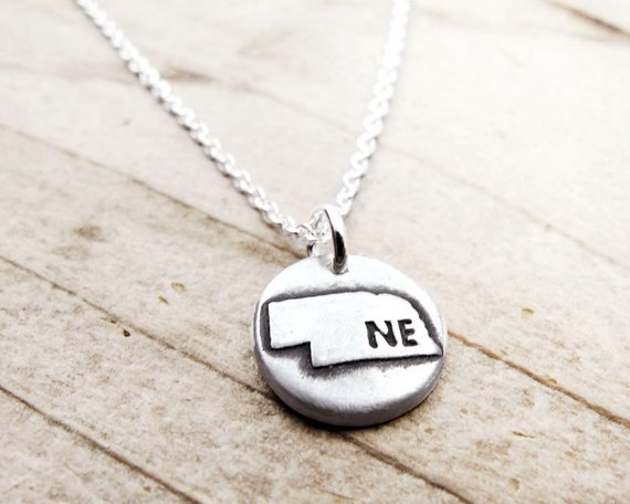 Nebraska map jewelry Silver necklace
