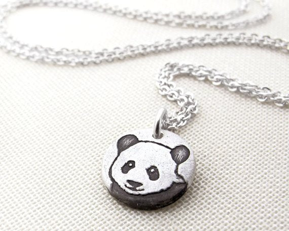 Tiny Panda Bear Necklace in Silver