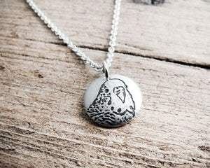 Tiny Silver Parakeet Charm Necklace