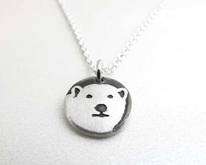 Tiny Polar Bear Necklace in Silver