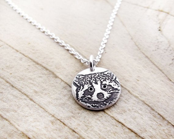 Tiny Raccoon Necklace in Silver