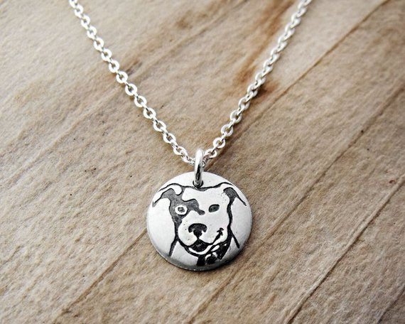 Tiny Smiling Pit Bull Necklace in Silver